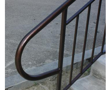pipe top custm railing w handicap hoop